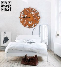 Flower wall clock E0010594 file cdr and dxf free vector download for Laser cut