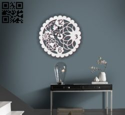Flower wall clock E0010677 file cdr and dxf free vector download for Laser cut