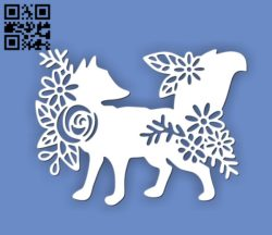 Fox with flowers E0010681 file cdr and dxf free vector download for Laser cut
