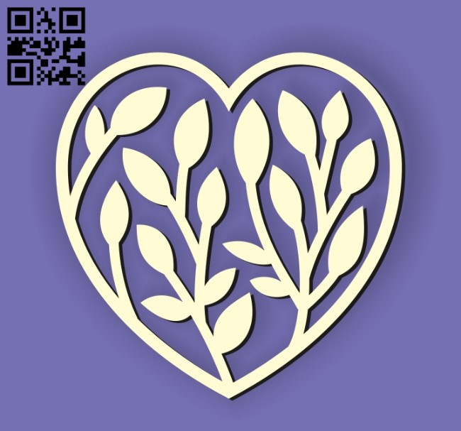 Heart and leaf E0010675 file cdr and dxf free vector download for Laser cut