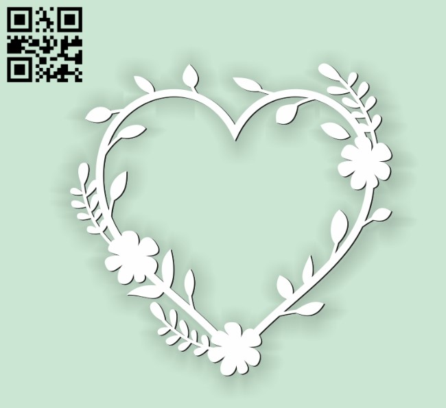 Heart with flowers E0010676 file cdr and dxf free vector download for Laser cut