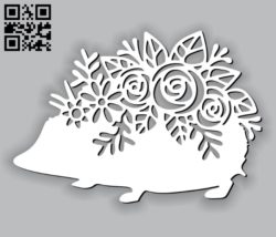 Hedgehog with flowers E0010757 file cdr and dxf free vector download for Laser cut