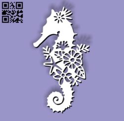 Hippocampus with flowers E0010759 file cdr and dxf free vector download for Laser cut