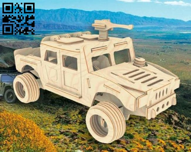 Humvee car E0010805 file cdr and dxf free vector download for Laser cut