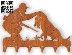 Key chain hunter with a dog E0010766 file cdr and dxf free vector download for Laser cut Plasma