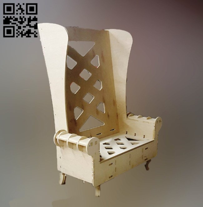 Large plywood chair E0010834 file cdr and dxf free vector download for Laser cut