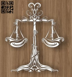 Libra zodiac E0010690 file cdr and dxf free vector download for laser engraving machines