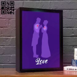 Love light box E0010894 file cdr and dxf free vector download for Laser cut