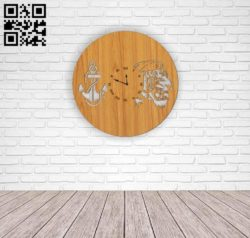 Marines wall clock E0010608 file cdr and dxf free vector download for Laser cut