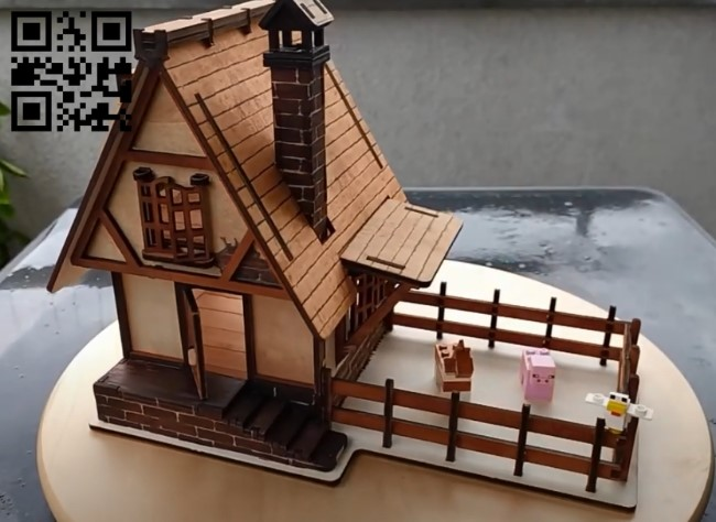 Medieval house E0010752 file cdr and dxf free vector download for Laser cut