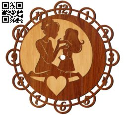 Mom and daughter wall clock E0010680 file cdr and dxf free vector download for Laser cut