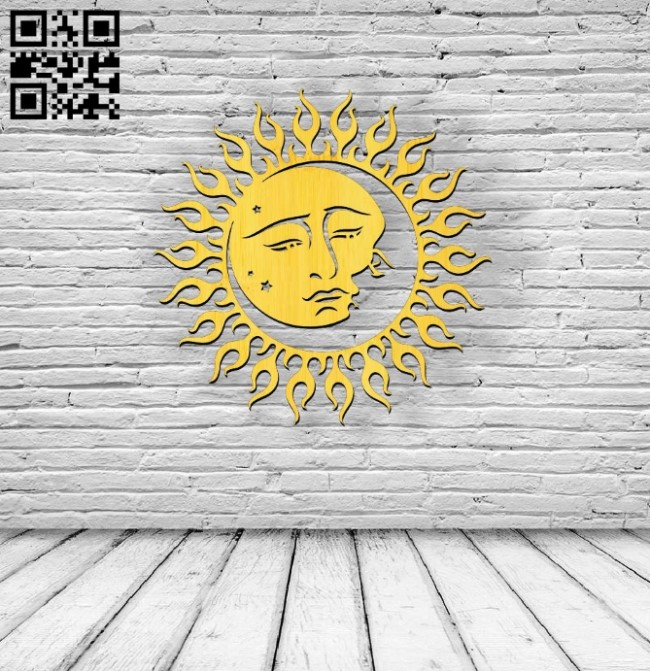 Moon embraces the sun E0010596 file cdr and dxf free vector download for Laser cut