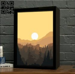 Morning Landscape light box E0010919 file cdr and dxf free vector download for Laser cut