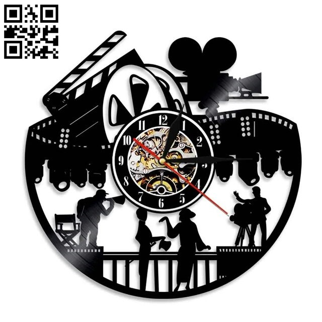 Movie wall clock E0010795 file cdr and dxf free vector download for Laser cut
