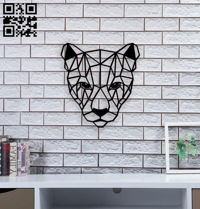 Panel Puma head E0010870 file cdr and dxf free vector download for Laser cut
