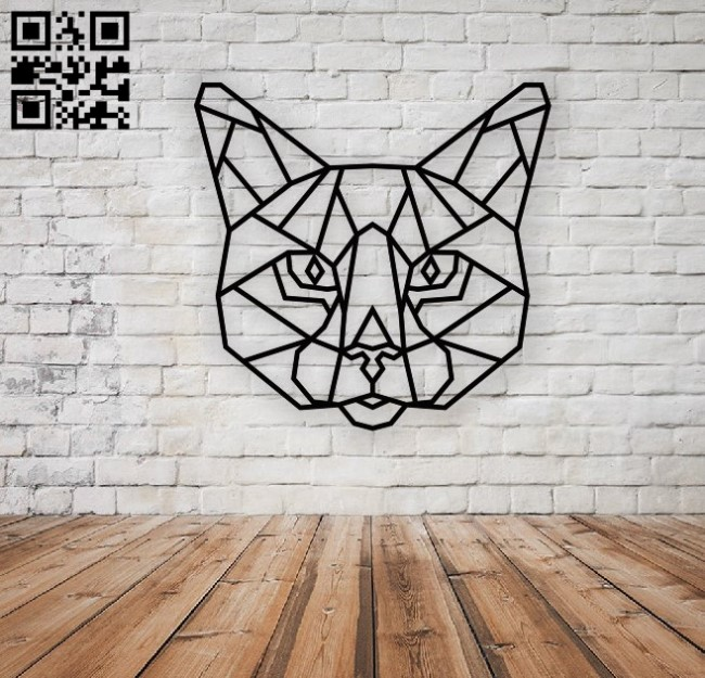 Panel cat head polygonal E0010868 file cdr and dxf free vector download for Laser cut