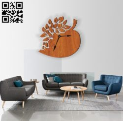 Peach wall clock E0010591 file cdr and dxf free vector download for Laser cut