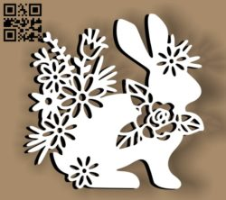 Rabbit with flowers E0010758 file cdr and dxf free vector download for Laser cut