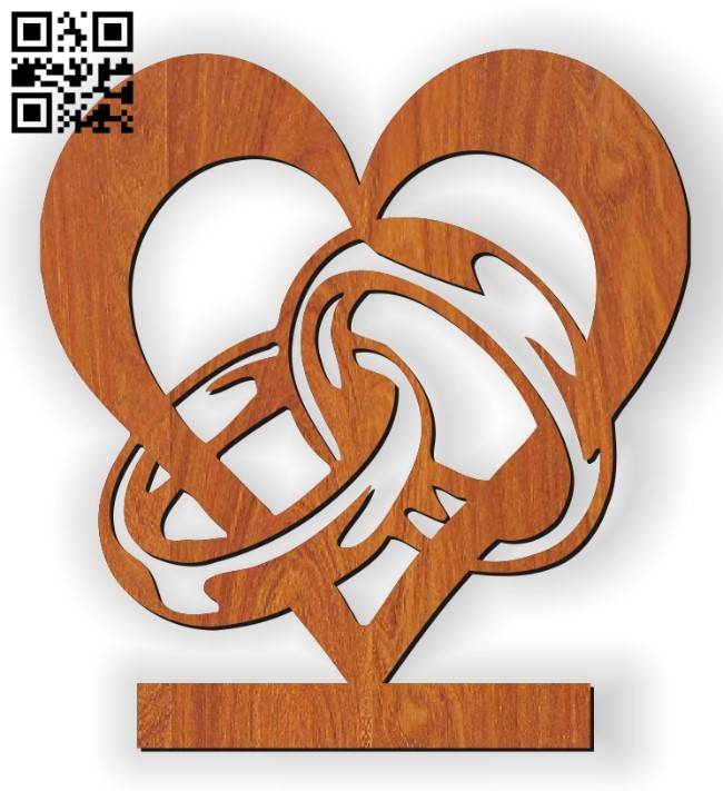 Rings and the heart statue E0010563 file cdr and dxf free vector download for Laser cut