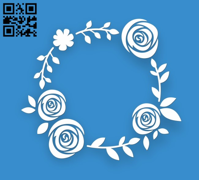 Rose wreath E0010829 file cdr and dxf free vector download for Laser cut