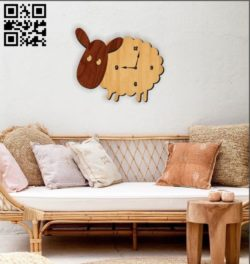 Sheep clock E0010569 file cdr and dxf free vector download for Laser cut