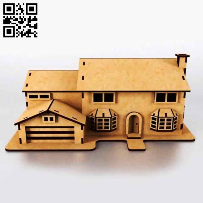 Simpson house E0010599 file cdr and dxf free vector download for Laser cut