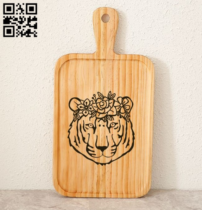 Tiger with floral E0010887 file cdr and dxf free vector download for laser engraving machines