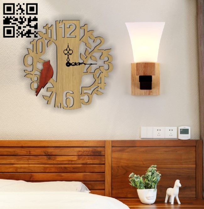 Tree and bird wall clock and E0010597 file cdr and dxf free vector download for Laser cut