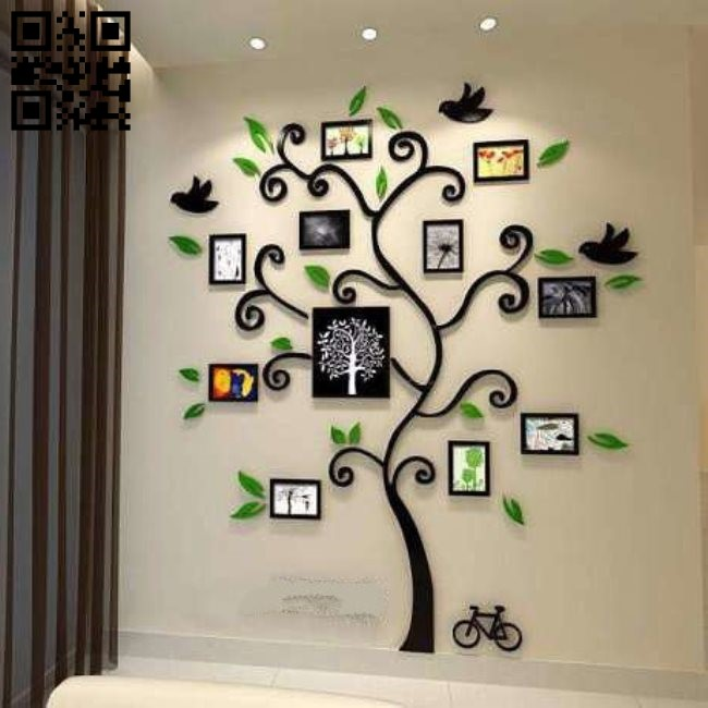 Tree photo frame E0010656 file cdr and dxf free vector download for Laser cut