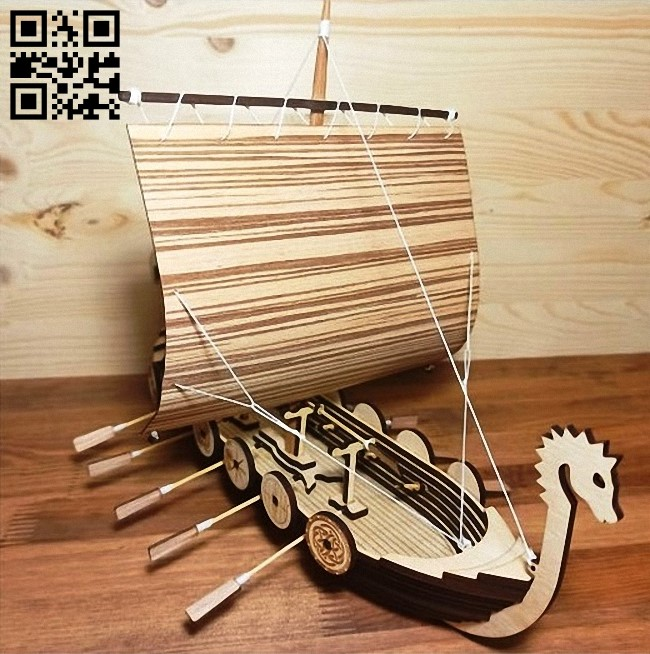 Viking boat E0010847 file cdr and dxf free vector download for Laser cut