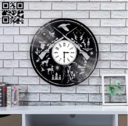 Wall clock hunting E0010895 file cdr and dxf free vector download for Laser cut