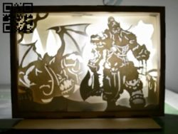 Warcraft game light box E0010727 file cdr and dxf free vector download for laser cut