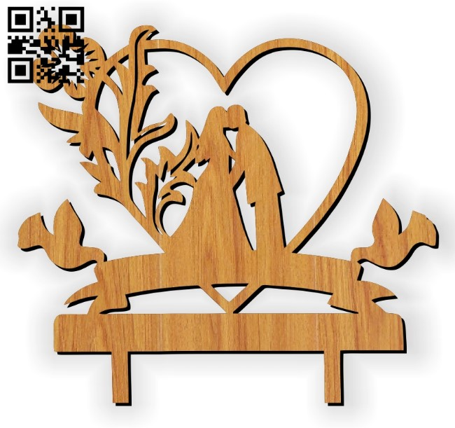 Wedding figurine E0010785 file cdr and dxf free vector download for laser cut