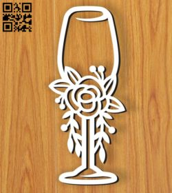 Wedding wine glass E0010601  file cdr and dxf free vector download for Laser cut