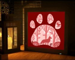 Wolf forest  light box E0010897 file cdr and dxf free vector download for Laser cut
