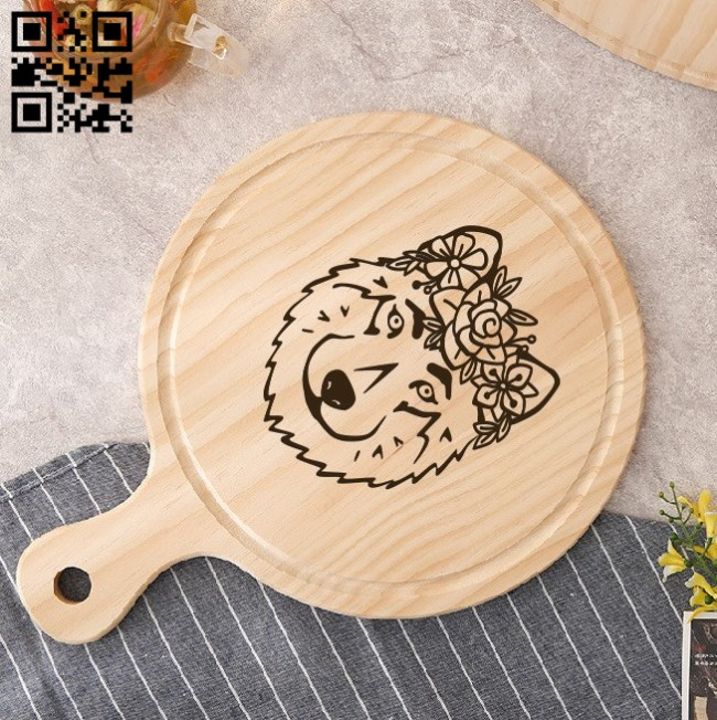 Wolf with floral E0010888 file cdr and dxf free vector download for laser engraving machines