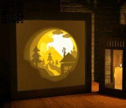 Wonderful sunset light box E0010918 file cdr and dxf free vector download for Laser cut
