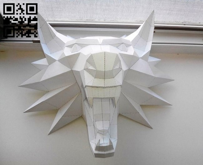 3D Wolf head E0010969 file cdr and dxf free vector download for Paper Laser cut