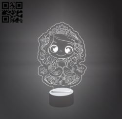 3D illusion led lamp Princess E0011174 file cdr and dxf free vector download for laser engraving machines