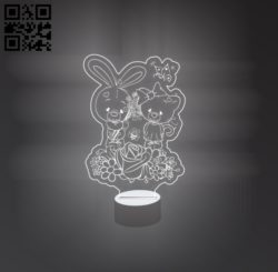 3D illusion led lamp Rabbits and bears E0011175 file cdr and dxf free vector download for laser engraving machines