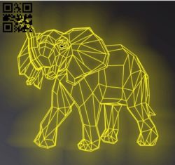 3D illusion led lamp elephants E0011349 free vector download for laser engraving machines