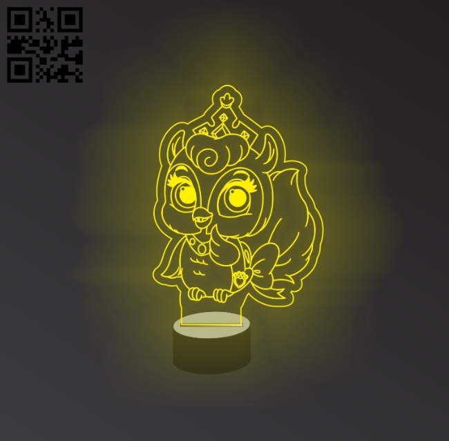 3D illusion led lamp owl E0011176 file cdr and dxf free vector download for laser engraving machines