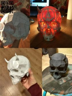 3D paper skull lamp E0010949 file cdr and dxf free vector download for Laser cut