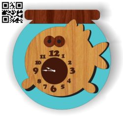 Aquarium clock E0011096 file cdr and dxf free vector download for Laser cut