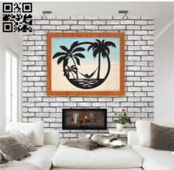 Beach palm tree E0011159 file cdr and dxf free vector download for Laser cut Plasma