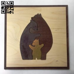 Bear family E0011218 file cdr and dxf free vector download for Laser cut