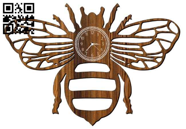 Bee clock E0011084 file cdr and dxf free vector download for laser cut