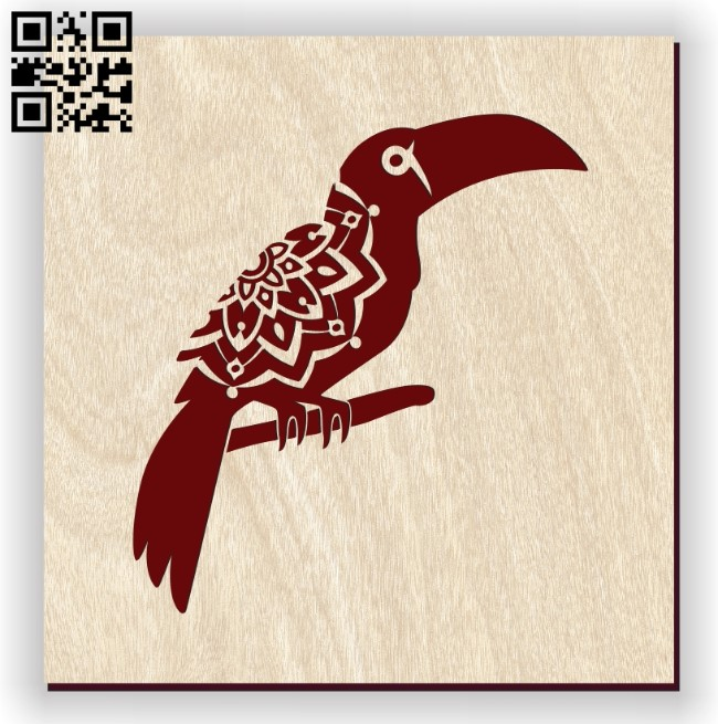 Bird with manlada E0011155 file cdr and dxf free vector download for laser engraving machines