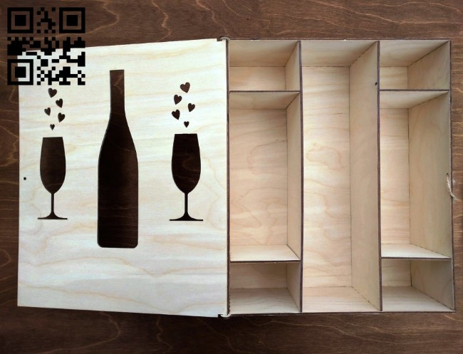 Box for champagne and glasses E0010922 file cdr and dxf free vector download for Laser cut CNC