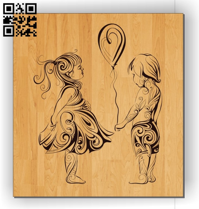 Boy and girl E0011081file cdr and dxf free vector download for laser engraving machines